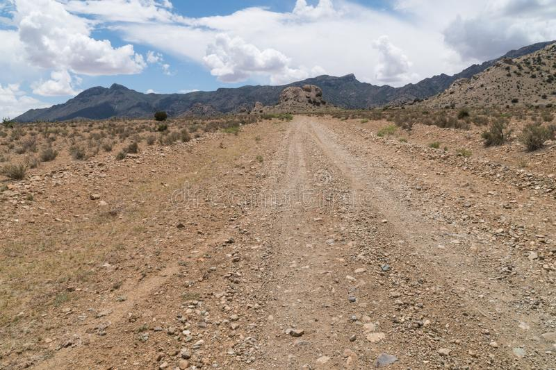 The Gap road near the Florida Mountains in New Mexico stock images