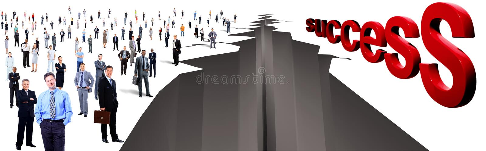 Gap between two large group of people stock image