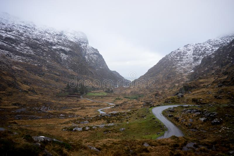 Gap van Dunloe in de Winter, Killarney, Republiek Ierland stock fotografie