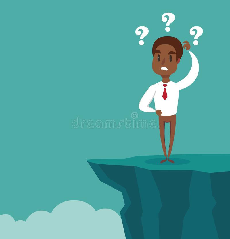 Gap on way to success. black african american businessman standing in front of abyss. Business challenge concept. Vector illustration flat design. Problem vector illustration