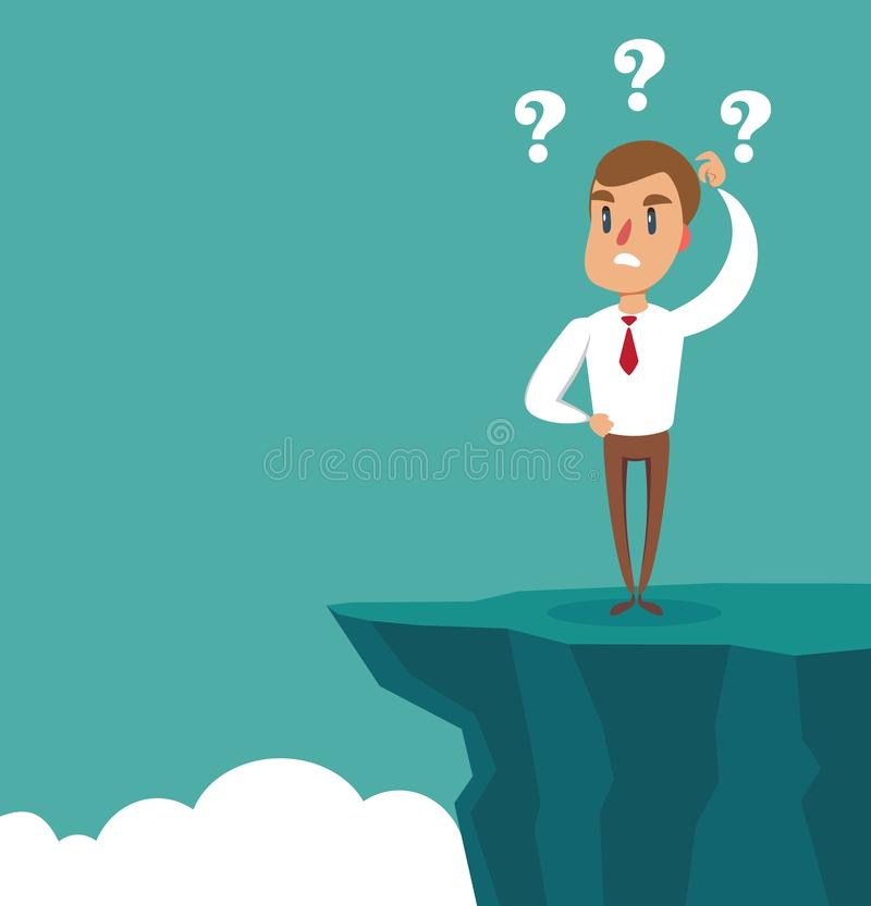 Gap on way to success. Businessman standing in front of abyss. Business challenge concept. Problem solving. Gap on way to success. Businessman standing in front royalty free illustration