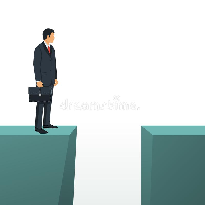 Gap on way to success. Business standing in front of abyss. Business challenge concept. Vector illustration flat design. Isolated on white background. Problem royalty free illustration