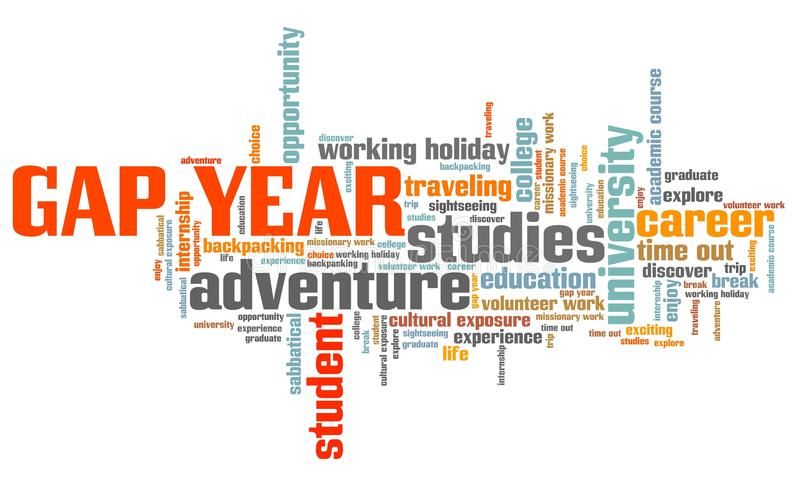 Gap year adventure. Gap year holiday issues and concepts word cloud illustration. Word collage concept stock illustration