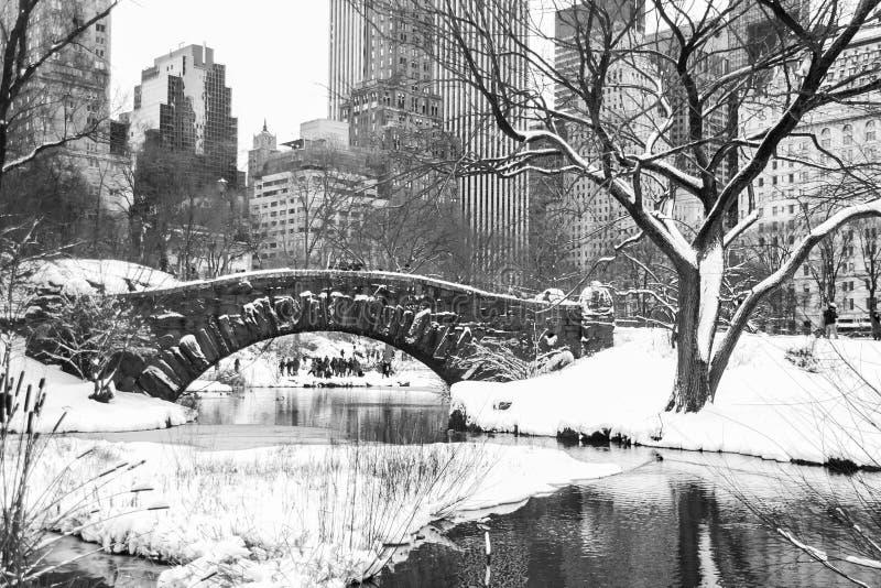 Gapstow-Brücke und Schnee des Winters in der Schwarzweiss-Art stockbild