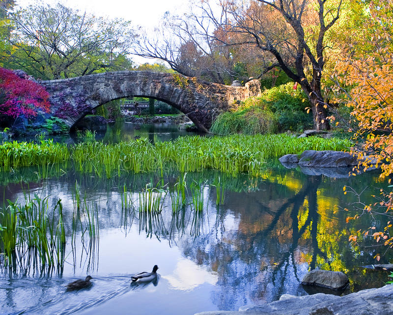 Gapstow bridge in Central Park stock photo