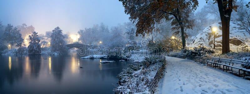 Gapstow bro under vinter, Central Park New York City USA royaltyfri bild
