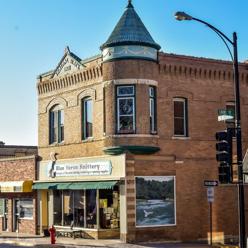 Garça-real azul Knittery, Decorah, Iowa imagem de stock royalty free