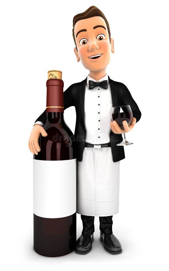 garçom 3d que está ao lado da garrafa de vinho tinto ilustração do vetor