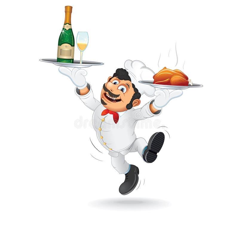 Garçom engraçado com bandeja do alimento Vetor ilustração stock