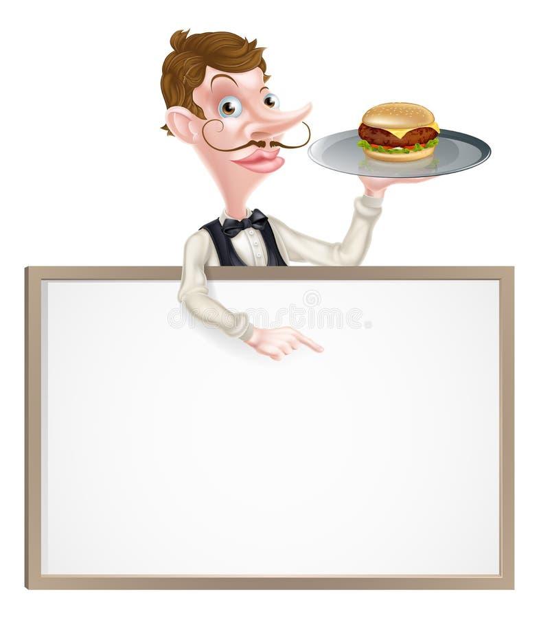 Garçom Pointing do hamburguer no sinal ilustração stock
