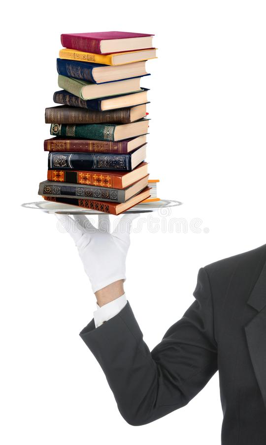 Garçom que serve livros no prato fotografia de stock royalty free