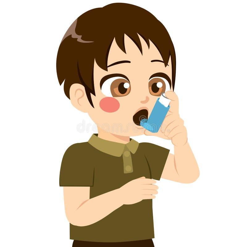 Garçon à l'aide de l'inhalateur illustration libre de droits