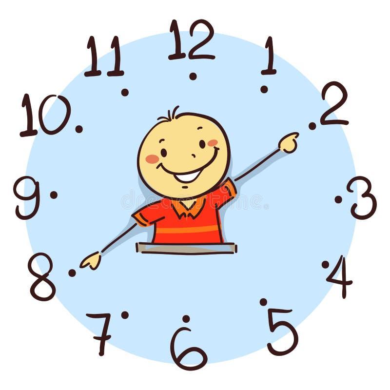 Garçon à l'aide de son bras comme main d'horloge illustration stock