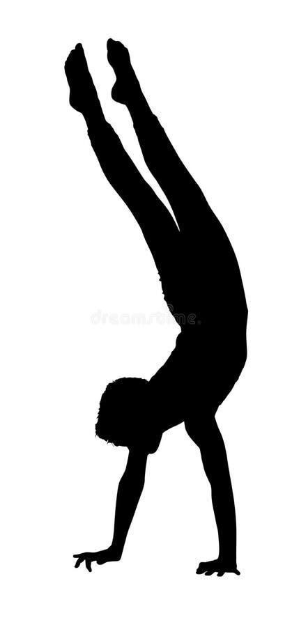 Garçon acrobatique de gymnastique marchant sur des mains illustration stock