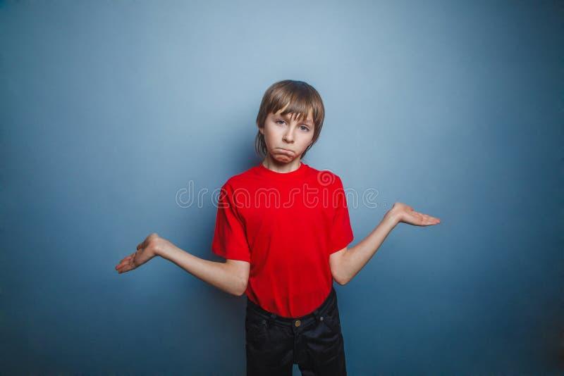 Garçon, adolescent, douze ans dans la chemise rouge photo libre de droits
