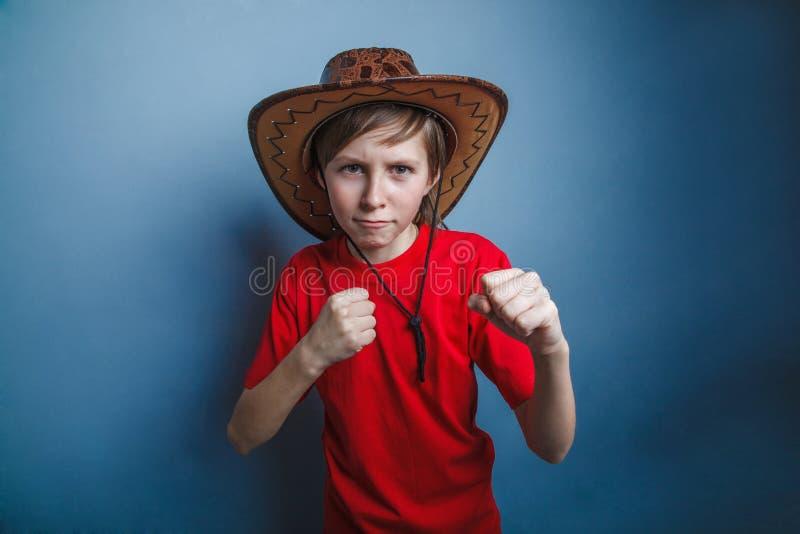 Garçon, adolescent, douze ans dans le T-shirt rouge avec a photo libre de droits
