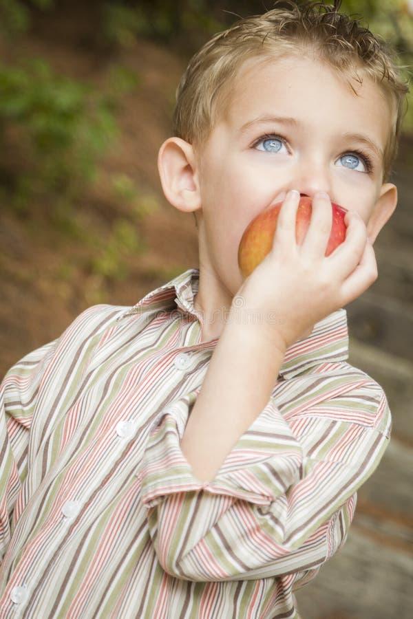 Garçon adorable d'enfant mangeant Apple rouge dehors photos libres de droits