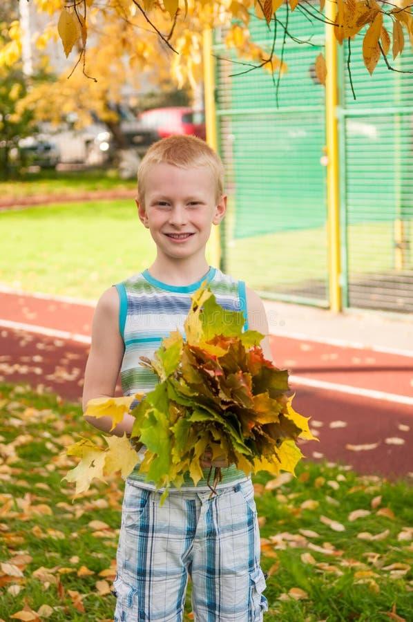 Garçon adorable souriant et tenant des feuilles d'automne photos stock