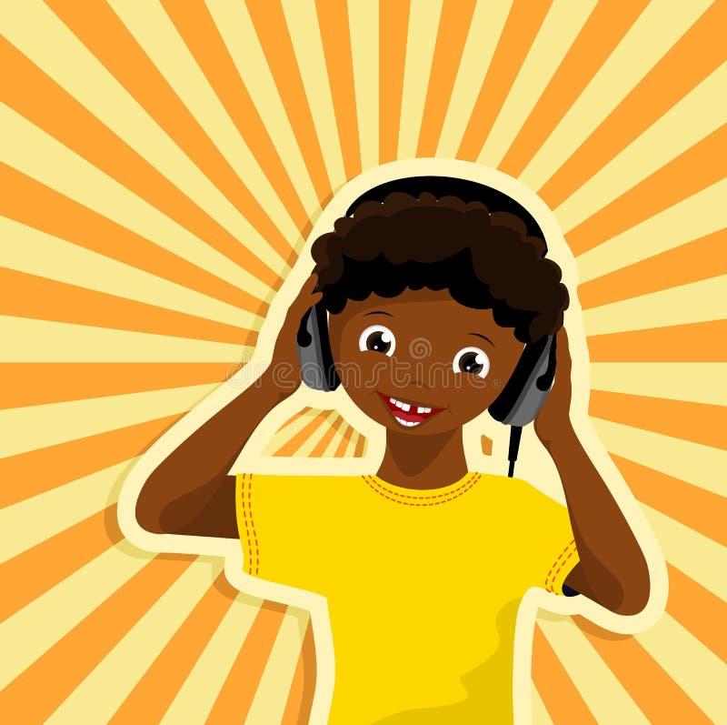 Garçon africain avec des écouteurs illustration de vecteur