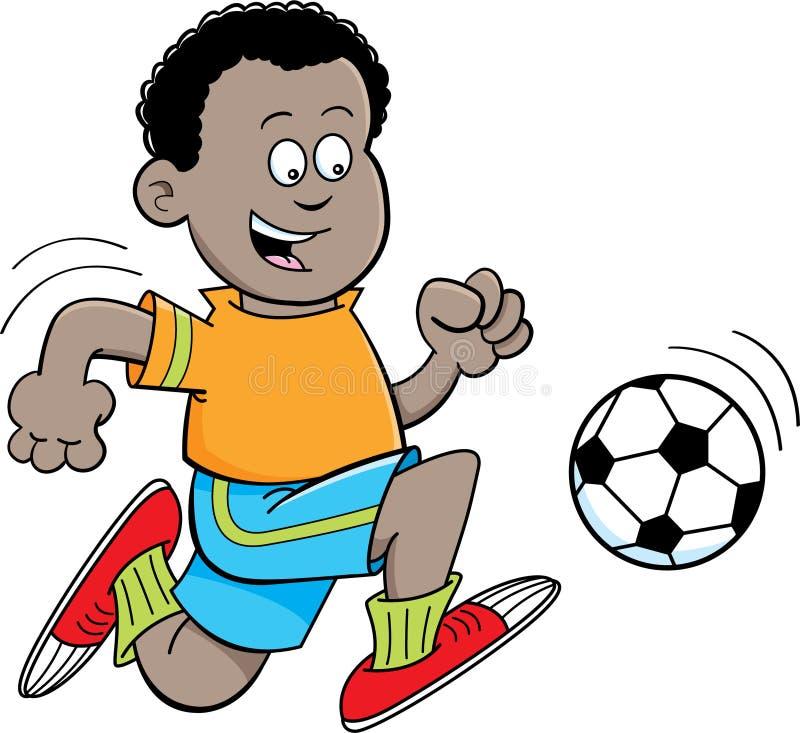 Garçon africain de bande dessinée jouant le football illustration de vecteur