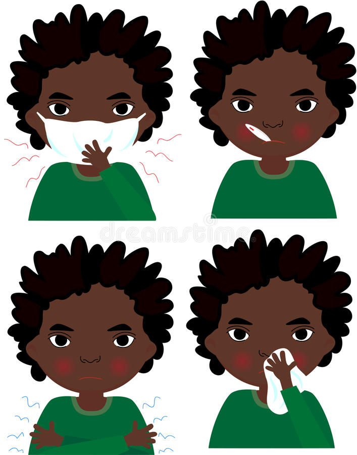 Garçon africain malade avec le masque, le thermomètre et le mouchoir de grippe illustration libre de droits