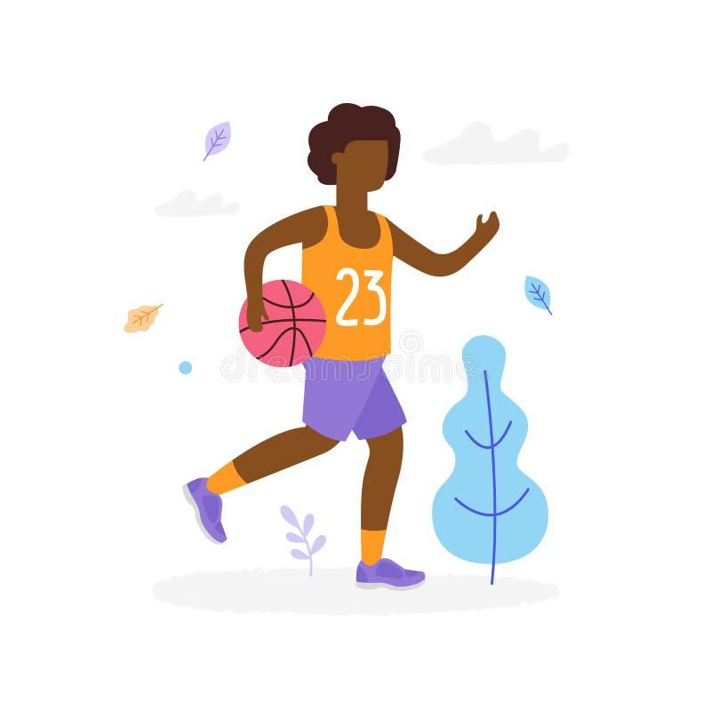 Garçon afro-américain heureux courant et jouant le basket-ball dehors en parc d'isolement sur le fond blanc Enfants illustration stock