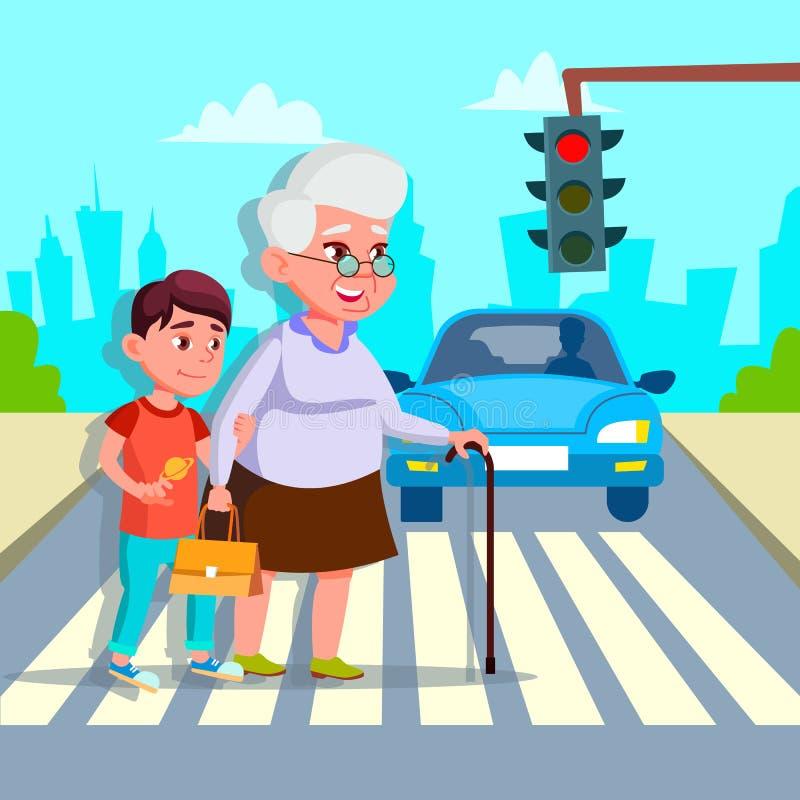 Garçon aidant le dessin supérieur de vecteur de rue de croisement de femme illustration de vecteur