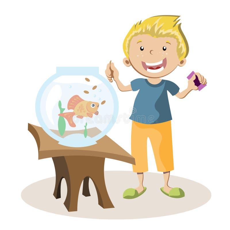 Garçon alimentant de petits poissons dans leur aquarium illustration libre de droits