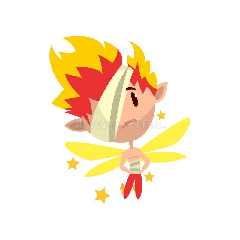 Garçon ardent à ailes peu d'elfe avec la correction d'oeil, illustration mignonne de vecteur de caractère de conte de fées sur un illustration de vecteur