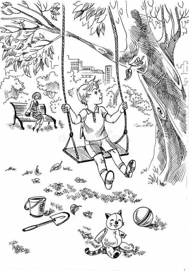 Garçon au terrain de jeu illustration de vecteur