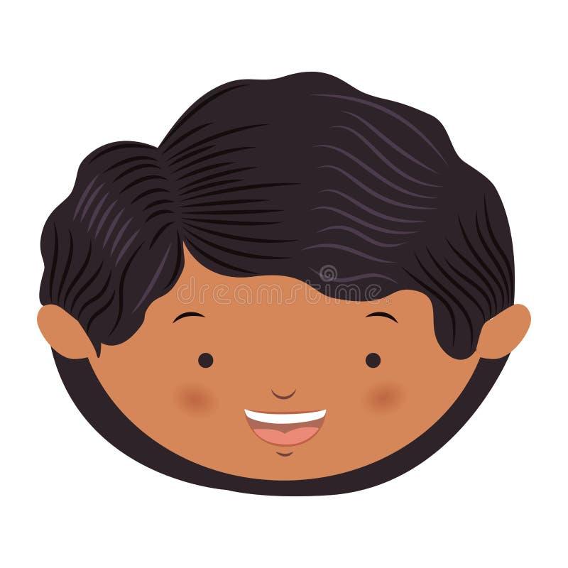 garçon avant de cheveux onduleux de visage d'avatar illustration libre de droits