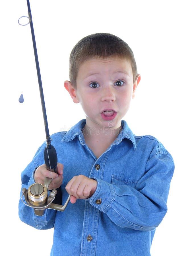 Garçon avec A canne à pêche deux images libres de droits