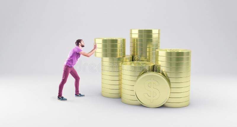 Garçon avec des pièces de monnaie illustration de vecteur