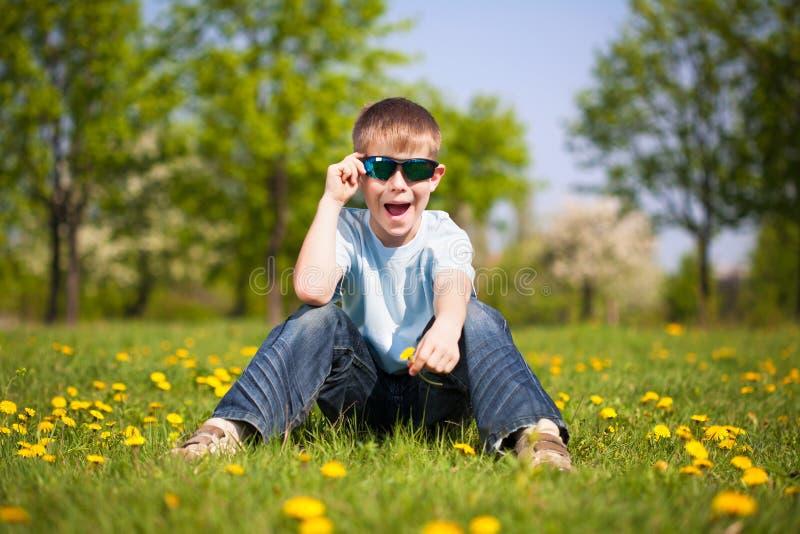 Garçon avec des pissenlits en parc vert. été photos libres de droits