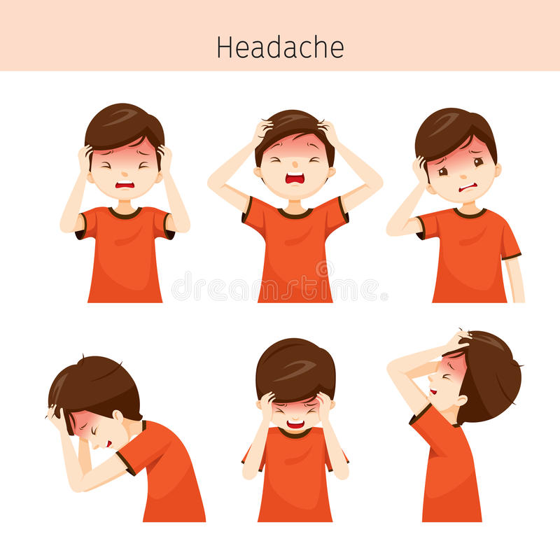 Garçon avec différentes actions de mal de tête illustration libre de droits