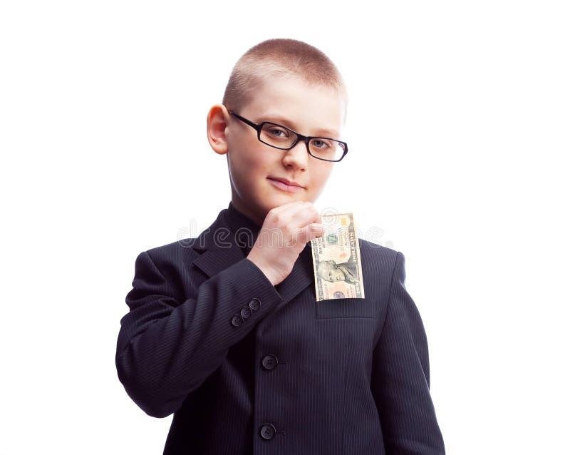 Garçon avec dix dollars image libre de droits