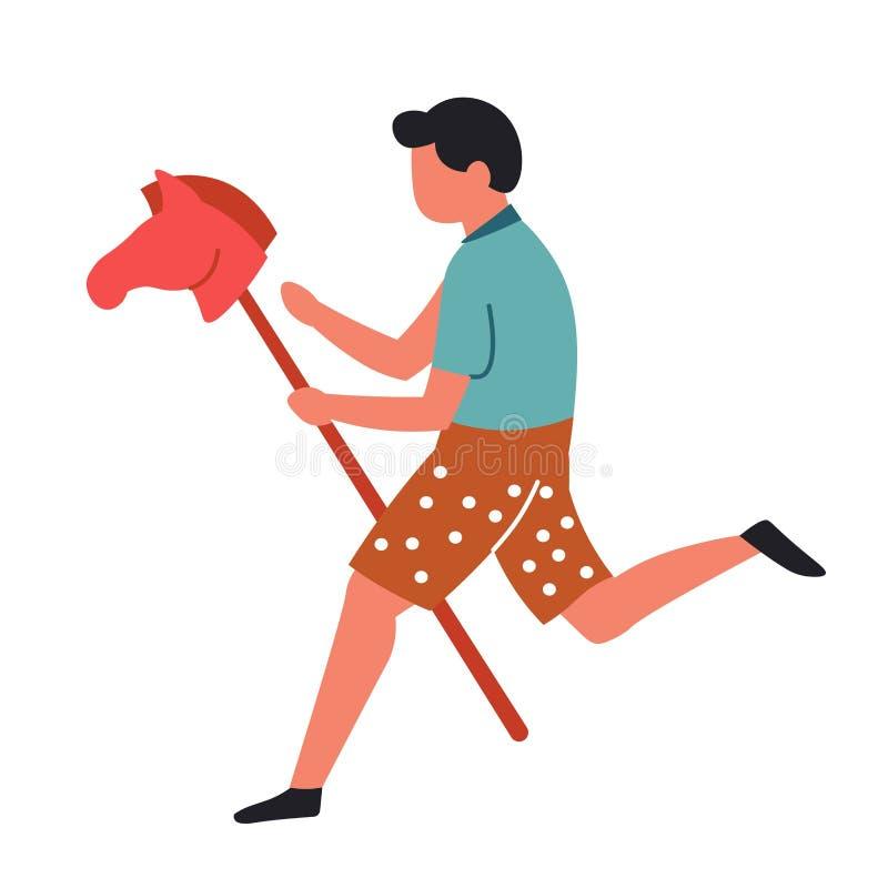 Garçon avec l'enfant d'isolement par cheval de caractère masculin de jouet jouant le jeu illustration de vecteur