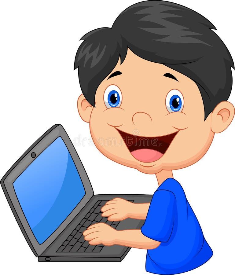 Garçon avec l'ordinateur portatif illustration stock