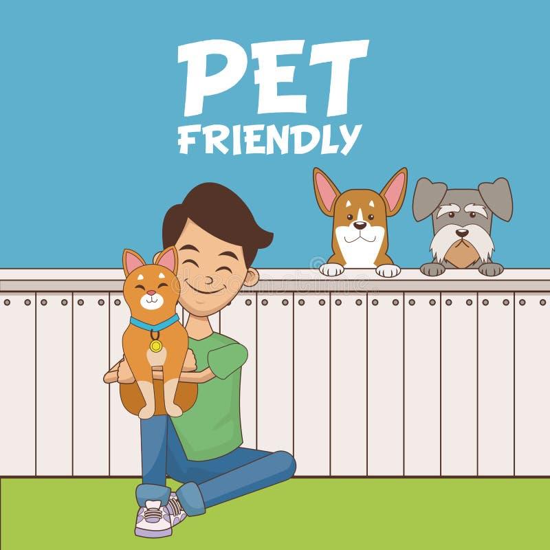 Garçon avec la bande dessinée d'animaux familiers illustration de vecteur