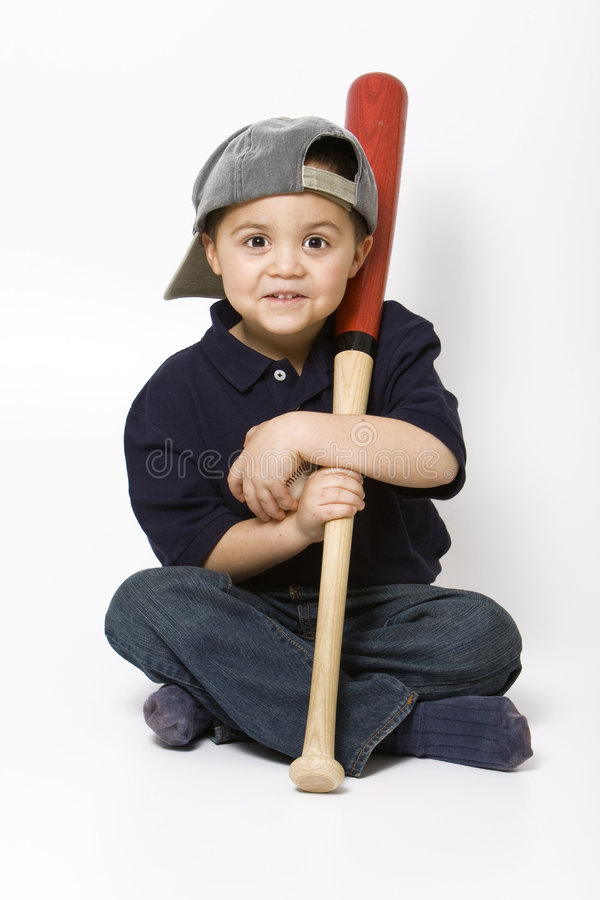 Garçon avec la batte de baseball photos stock