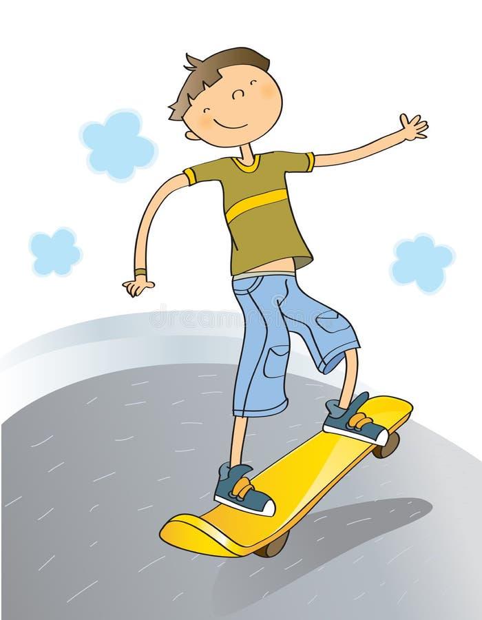 Garçon avec la planche à roulettes illustration libre de droits