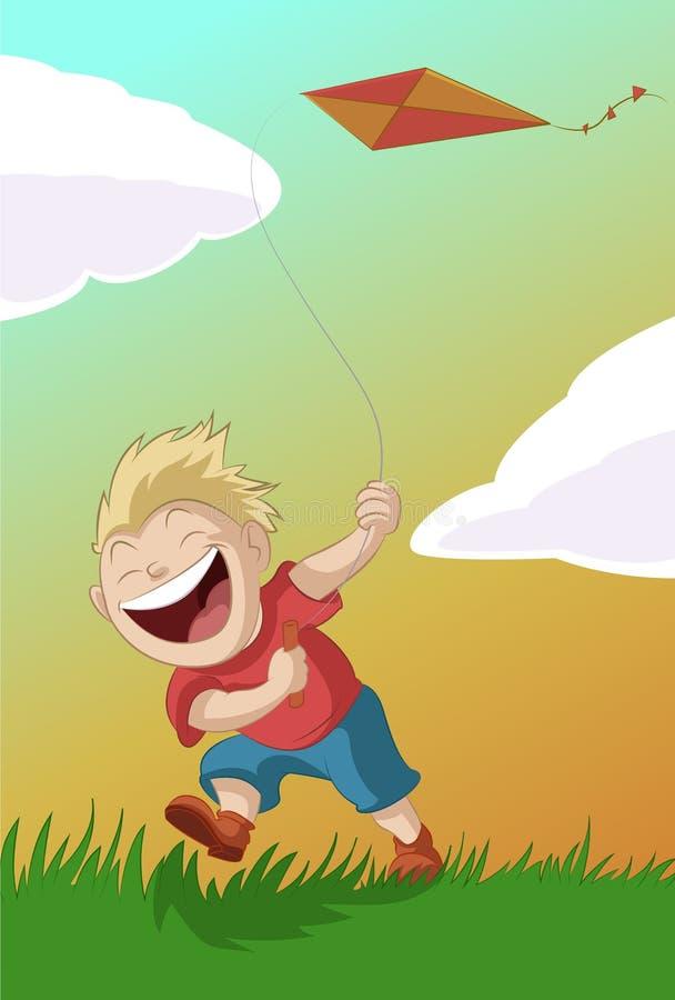 Garçon avec le cerf-volant illustration libre de droits
