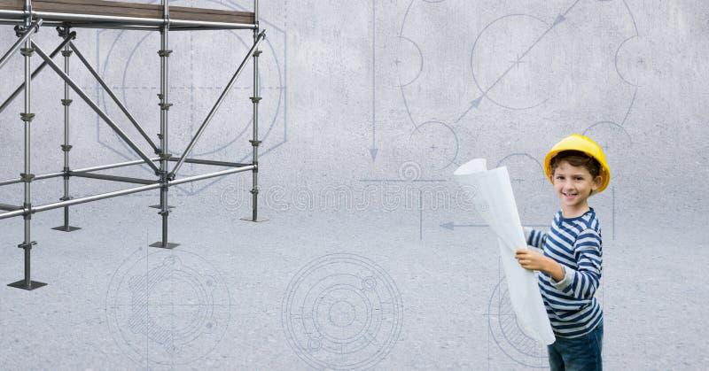 Garçon avec le chapeau de constructeur près de l'échafaudage 3D illustration libre de droits