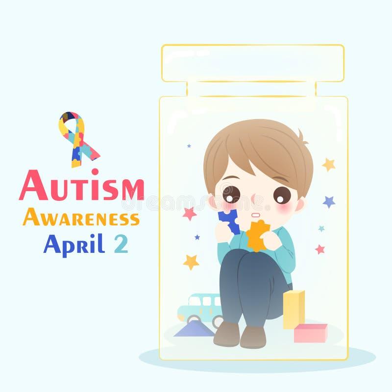 Garçon avec le concept de conscience d'autisme illustration libre de droits