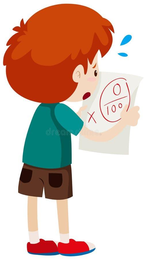 Garçon avec le score zéro sur le papier illustration stock