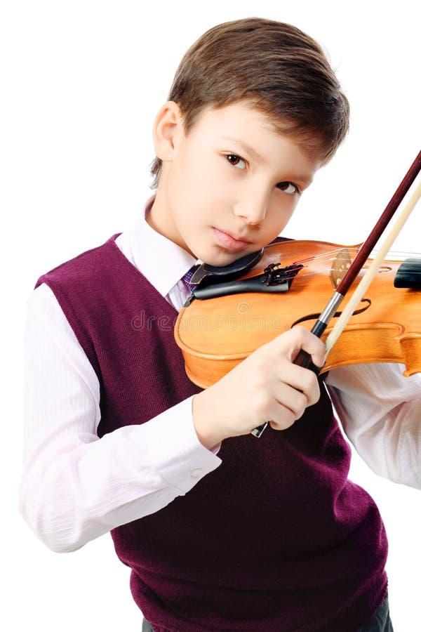 Garçon avec le violon photographie stock libre de droits