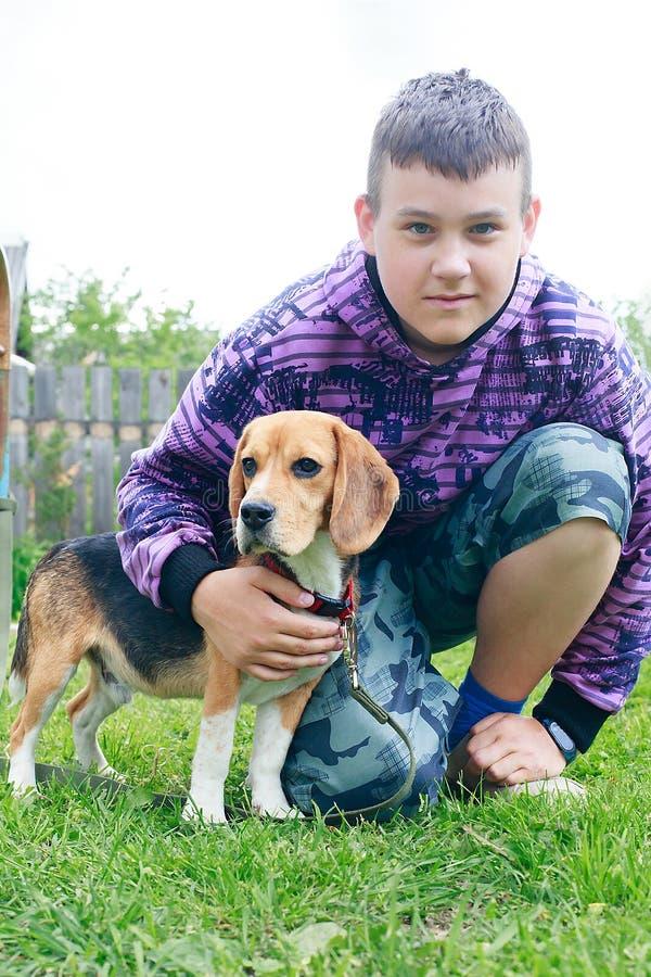 Garçon avec un chien de briquet dans le pays image libre de droits