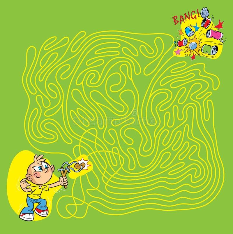 Garçon avec une fronde dans un labyrinthe illustration stock