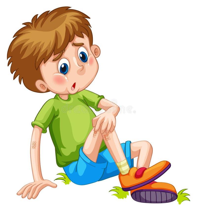 Garçon ayant des contusions sur sa jambe illustration de vecteur