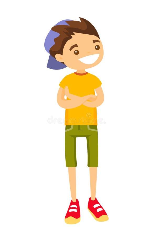 Garçon blanc caucasien adolescent dans la casquette de baseball illustration de vecteur